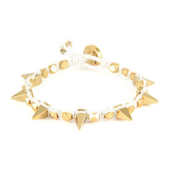 Macrame white metallic thread bracelet with Gold spikes by Ettika