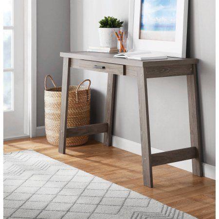 Mainstays Logan Rustic Oak A Frame Writing Desk With Pullout Drawer Walmart Com Home Office Desk For Sale Sleek Desk
