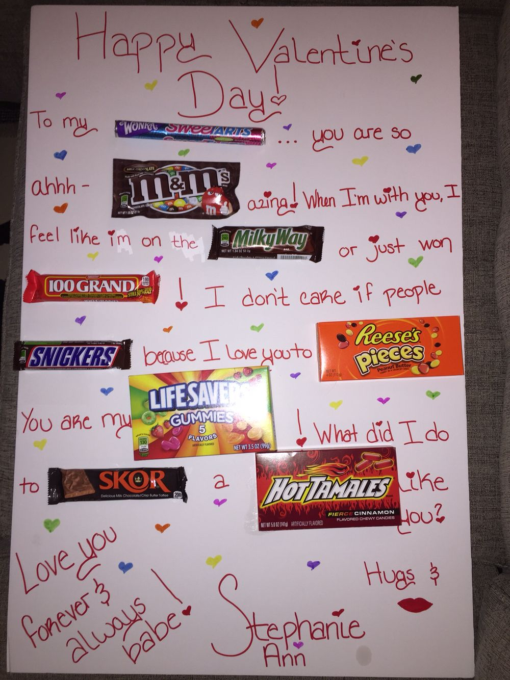 Valentine's Day candy note