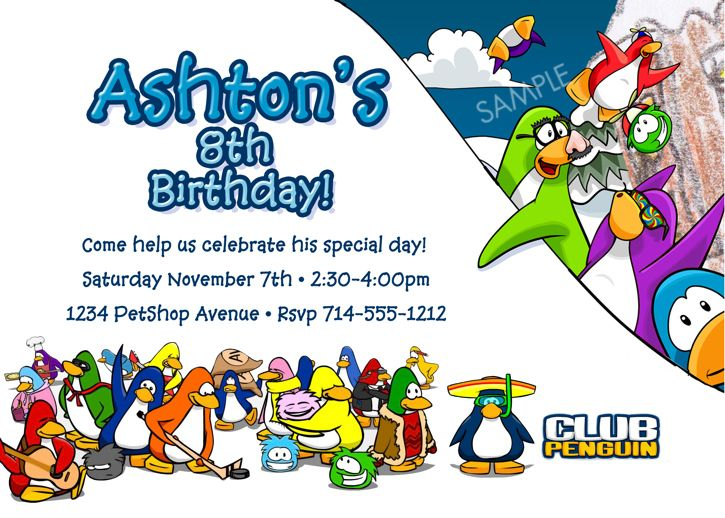 club penguin birthday party   Club Penguin Birthday Party Invitation - Printable Digital File ...