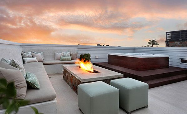 Rooftop Terrace Design Modern and Contemporary Ideas  Fire Pit - loungemobel garten modern