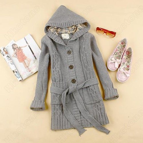 Womens Cardigan Hoodie Sweater Hooded Sweatshirt Jacket Coat ...