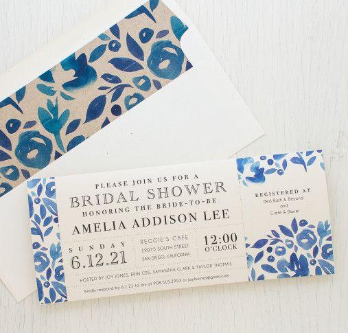 It's a garden party bridal brunch! Denim Blue Bridal Shower Invites With Corresponding Floral Envelope Liners