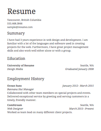image result for simple resume format - Simple Resume Formate