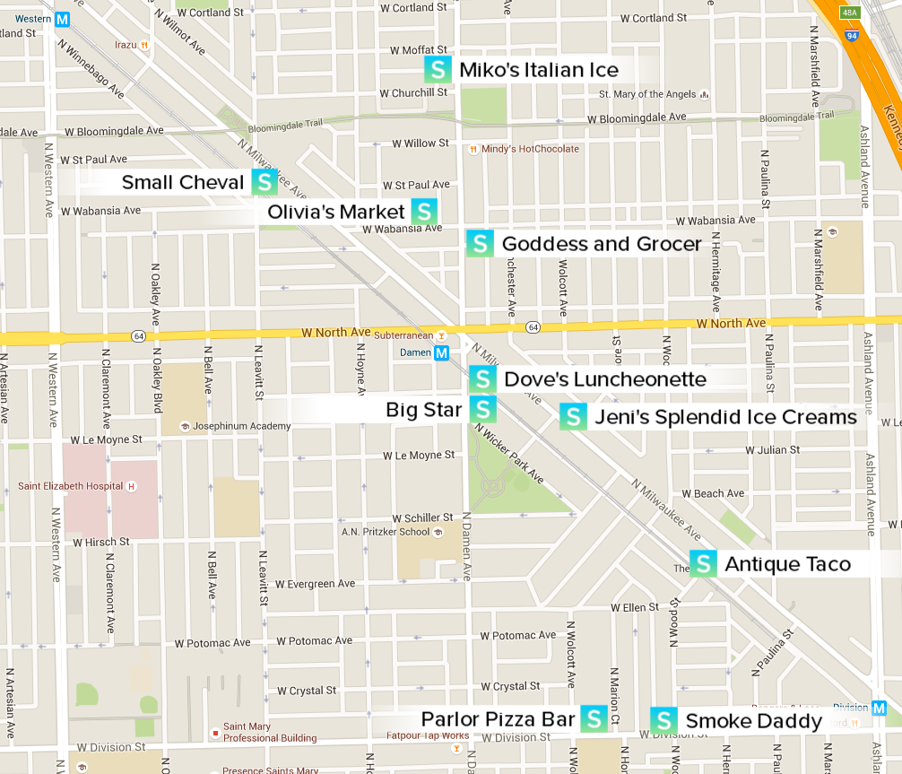 Map Of All Neighborhood Picks In Wicker Park Bucktown Wicker