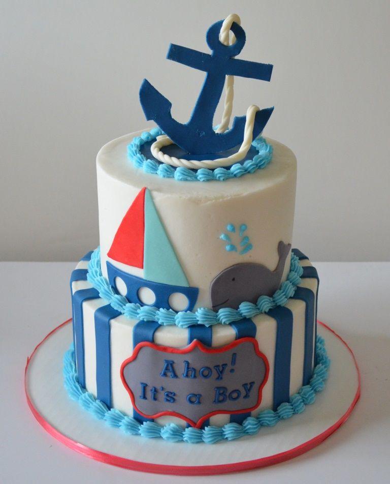 Ahoy Its a Boy Cake Baby Shower Cakes Pinterest Boy cakes