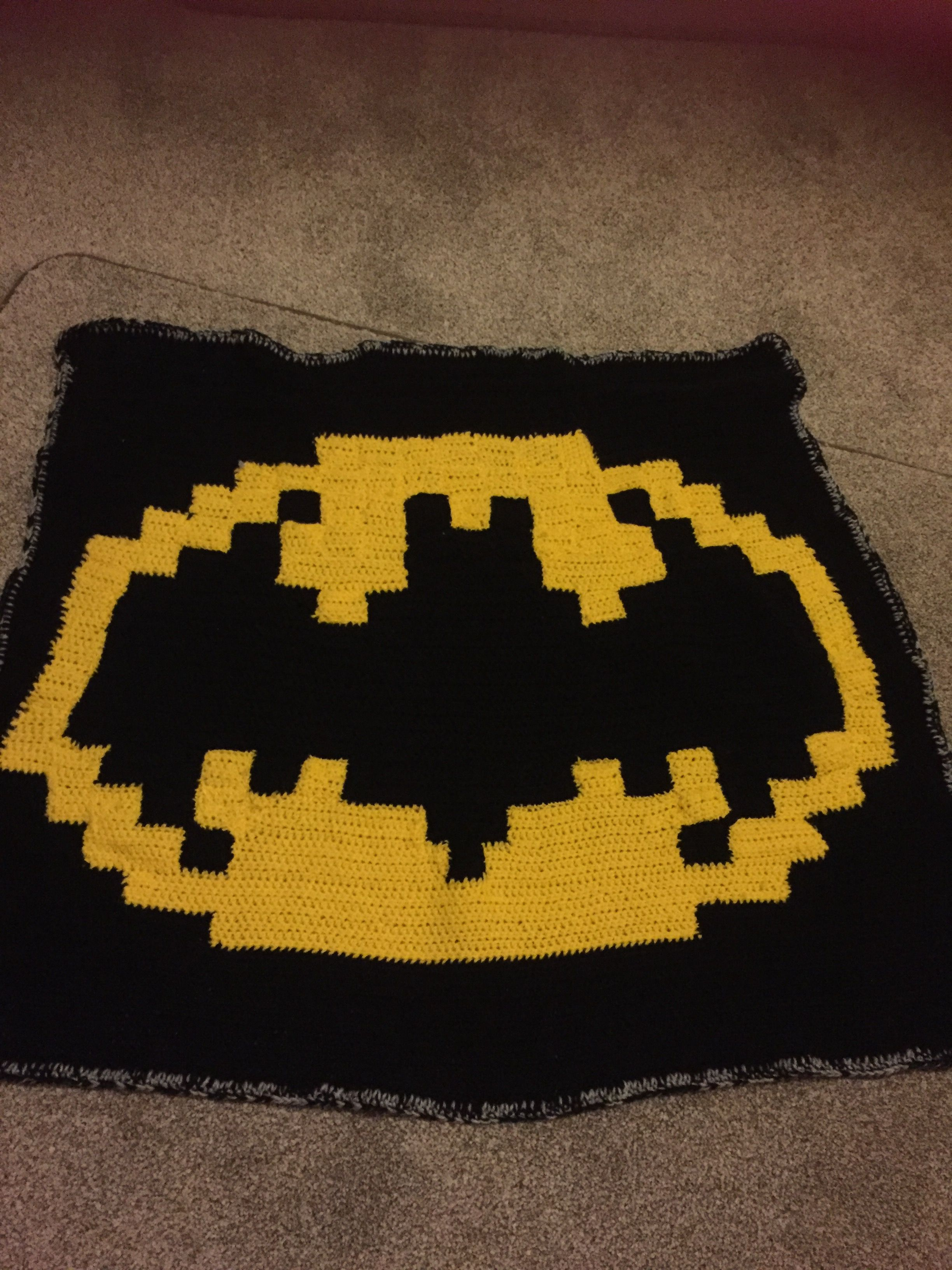 Crocheted Batman Blanket Used Graph Paper To Draw Logo My