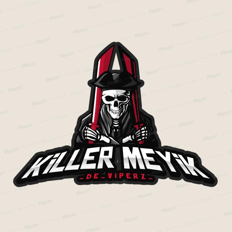 Placeit Gaming Squad Logo Generator Featuring a Grim