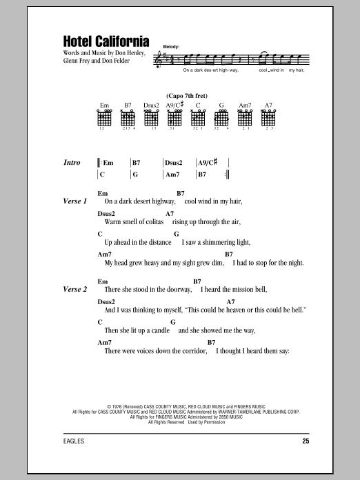 Download Guitar Chords/Lyrics sheet music to Hotel California by ...
