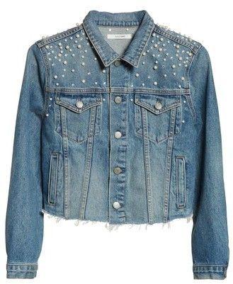 Faux Pearl Crop Denim Jacket