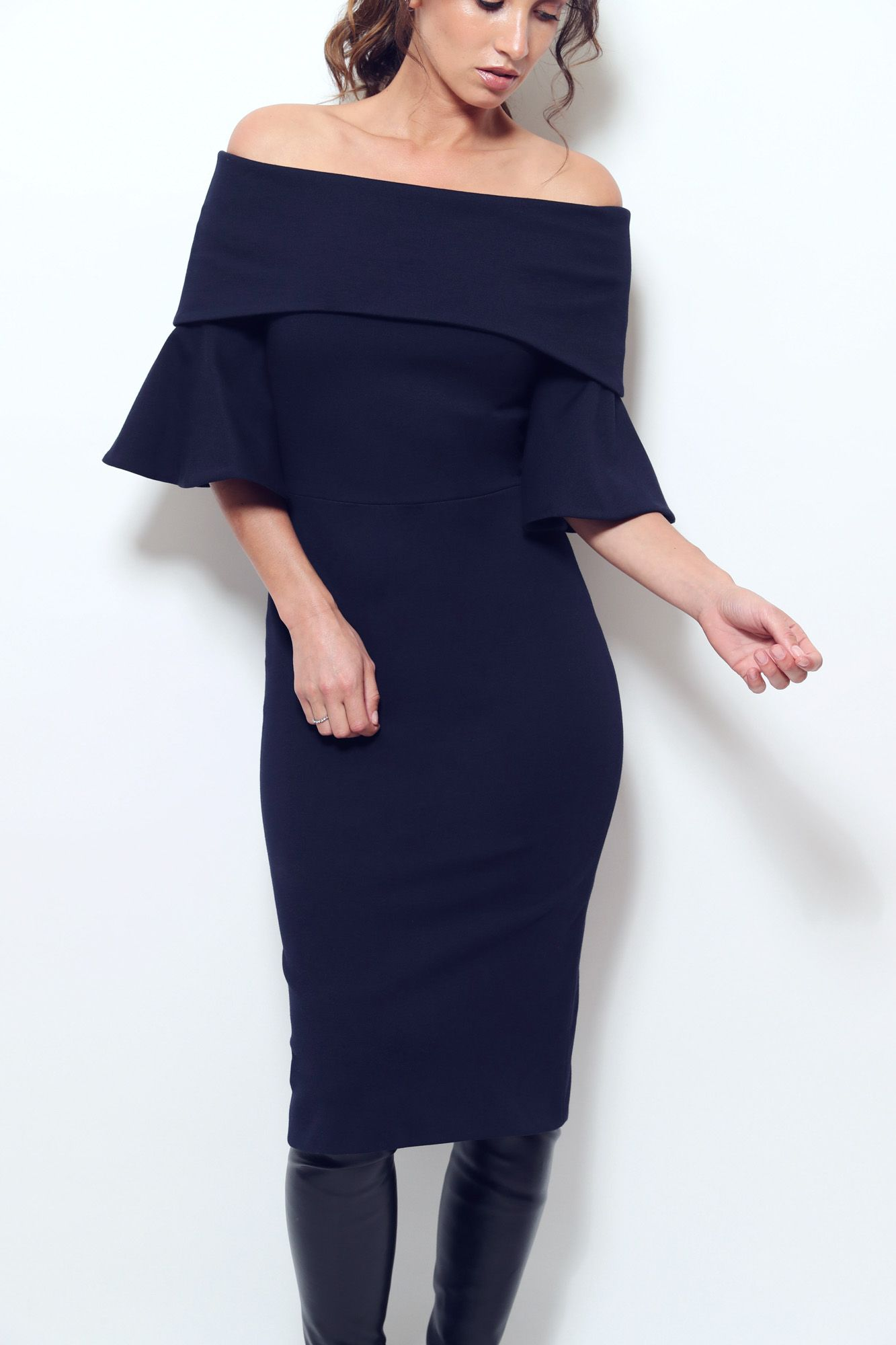 52968df902a Meaning Dress. Off the shoulder pencil dress with flared 3/4 sleeve ...