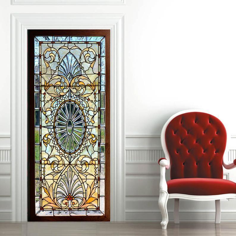 Door Wall Sticker Stained Glass With Bevels Self Adhesive Etsy Stained Glass Door Door Stickers Vinyl Doors