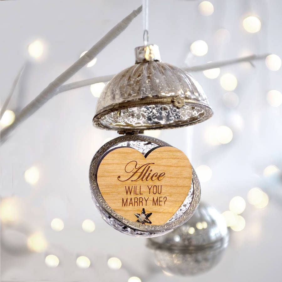 Will you marry me christmas ornament - Personalised Glass Proposal Bauble