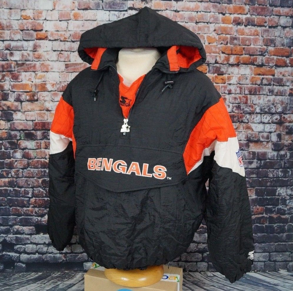 9b567728 Vtg 90s Cincinnati Bengals Starter Jacket Pullover Hooded Nylon Mens ...