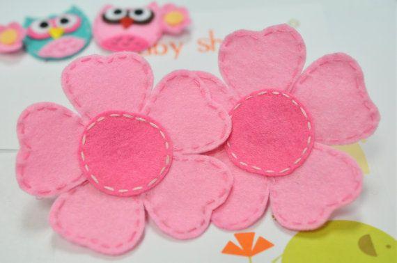 New Set of 4pcs handmade felt flowerbaby pink/dark by AsecInc