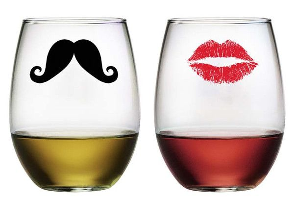 Kiss And Mustache Stemless Wine Glasses Wine Glass Set Wine