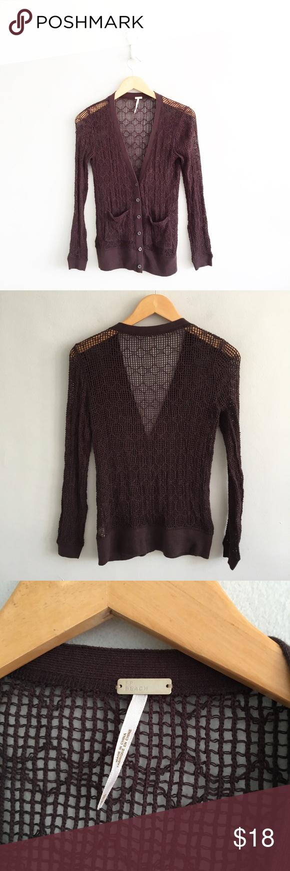 Free People Brown Open Knit Cardigan Sweater | Free people, Brown ...