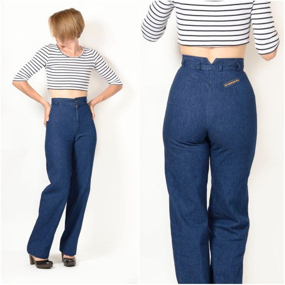 Vintage 1980s Ultra High Waist Wide Leg Jeans by ItinerantVintage