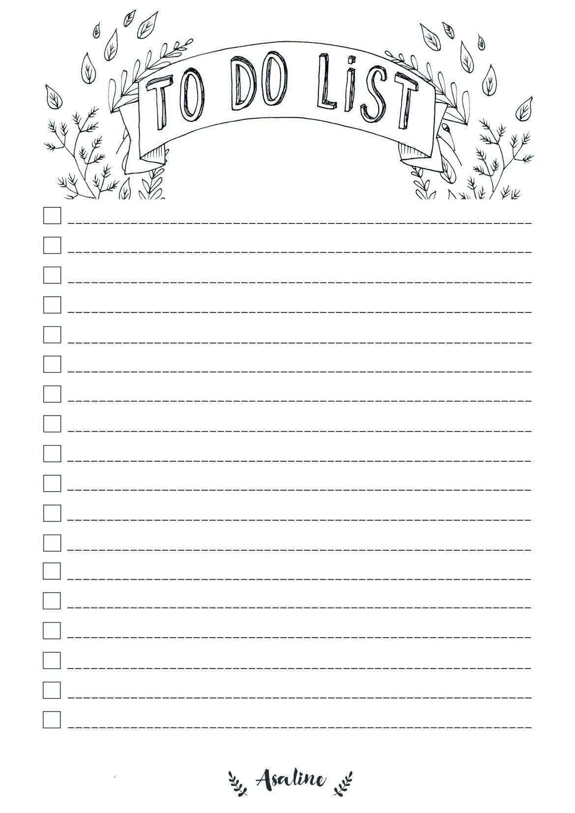 Asaline to do list septembre 2016 imprimer gratuit printable noir et blanc 2017 pinterest - Mois du blanc 2017 ...