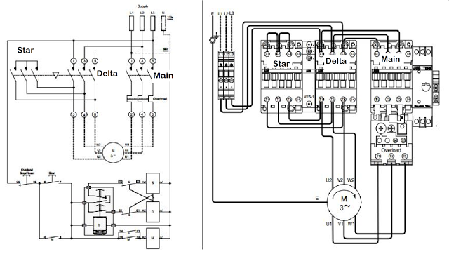 Star Delta Starter Line Diagram And Its Working Principle Line Diagram Electrical Circuit Diagram Schematic Drawing