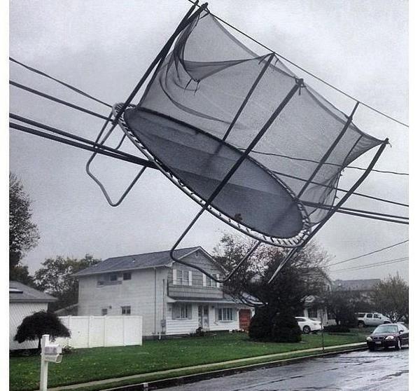 =( Trampoline gets caught in power lines in Milford, Ct. (photo Derek Oxley @UINCTIPS