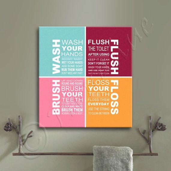 Wash Brush Floss Flush Bathroom Rules Canvas Giclee