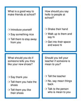 Problem Solving and Social Skills Task Cards: At School