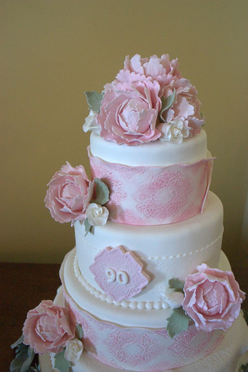 90th Birthday Cake Pink Lace Wrapped With Big Roses Beautiful La Bella Torta