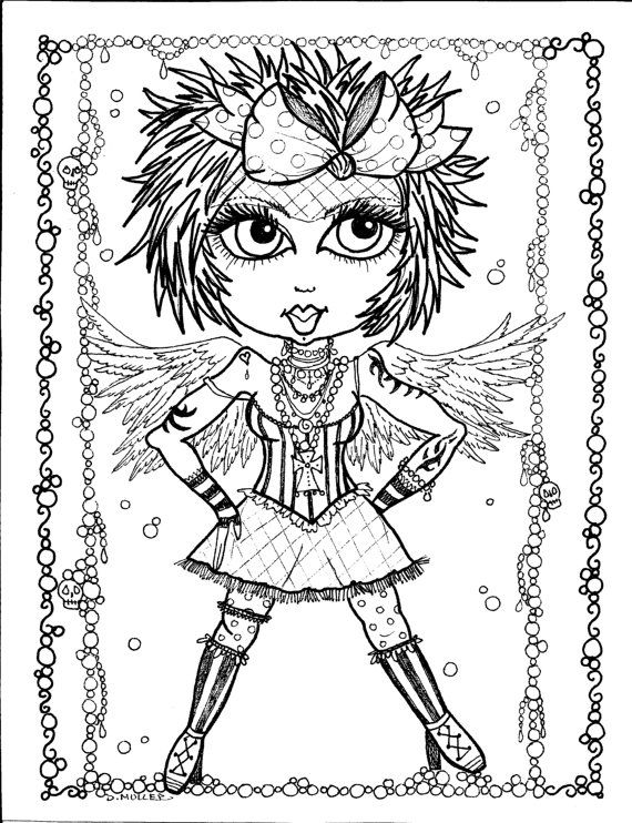 5 pages Instant Download 5 Coloring pages Gothic Angels Color book ...