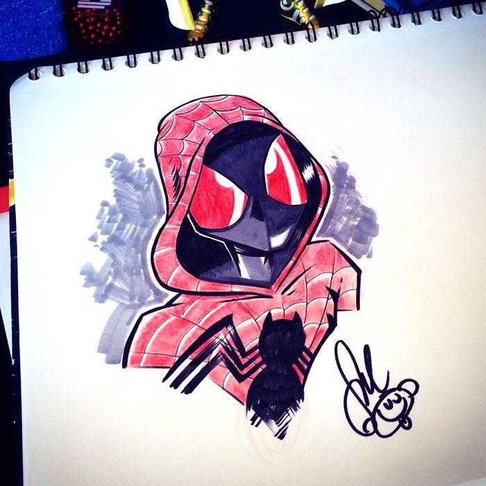 Day 18: Spider-verse Spider-man by Dennis Salvatier #inktober