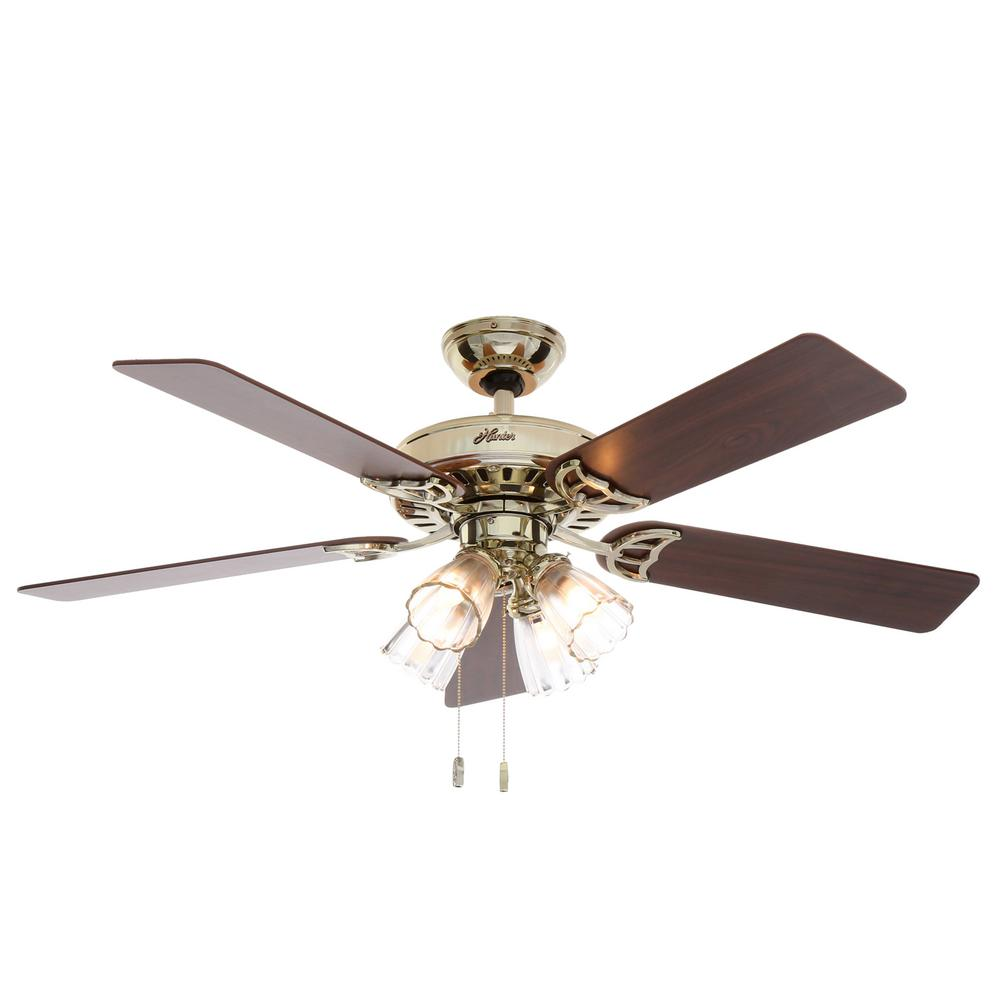 Hunter Studio Series 52 In Indoor Bright Brass Ceiling Fan With Light Kit 53066 The Home Depot Ceiling Fan With Light Ceiling Fan Brass Ceiling Fan Ceiling fans with bright lights