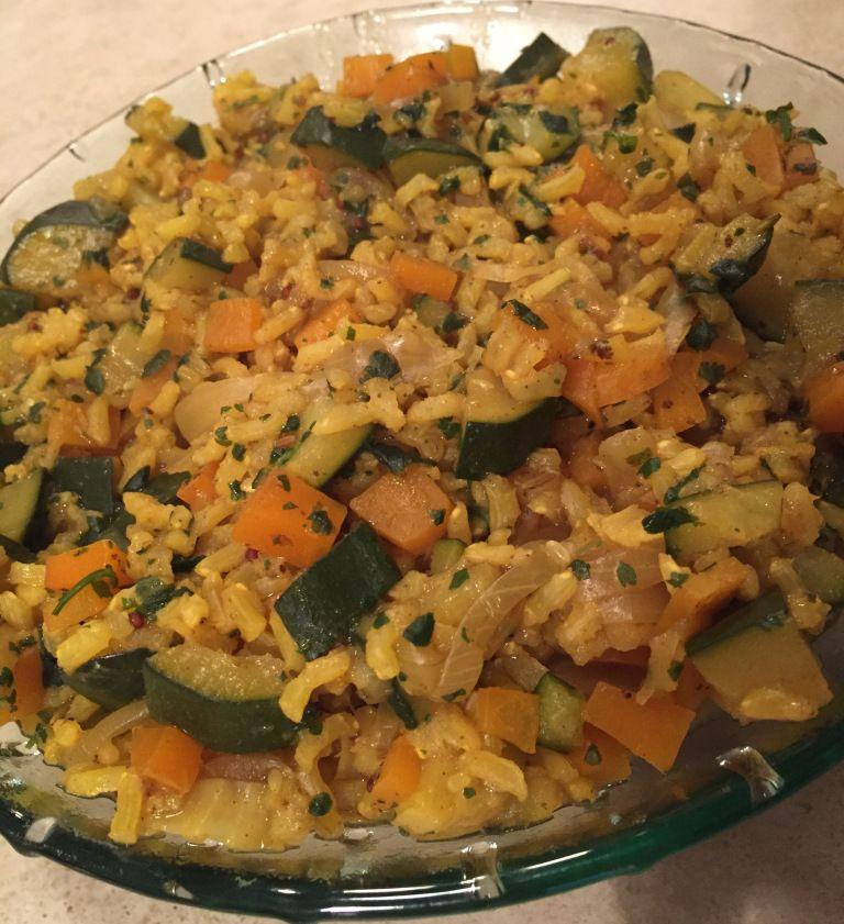 Riz pilaf épicé aux légumes (sans matières grasses, starch solution)
