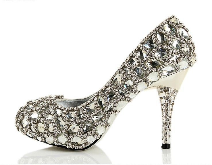 Attractive Bride U003e Accessories U003e Shining Rhinestones High Heel Wedding Shoes