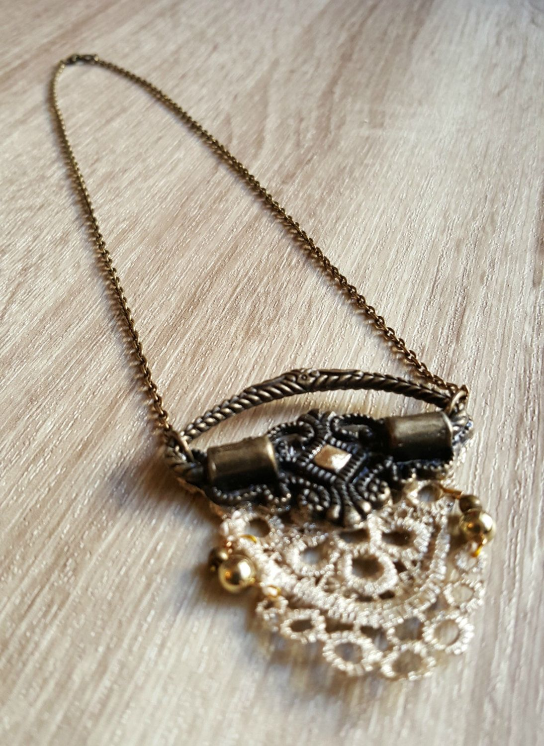 Antique Gold Color Painted Lace Pendant with Upcycled Antiqued Brass ...