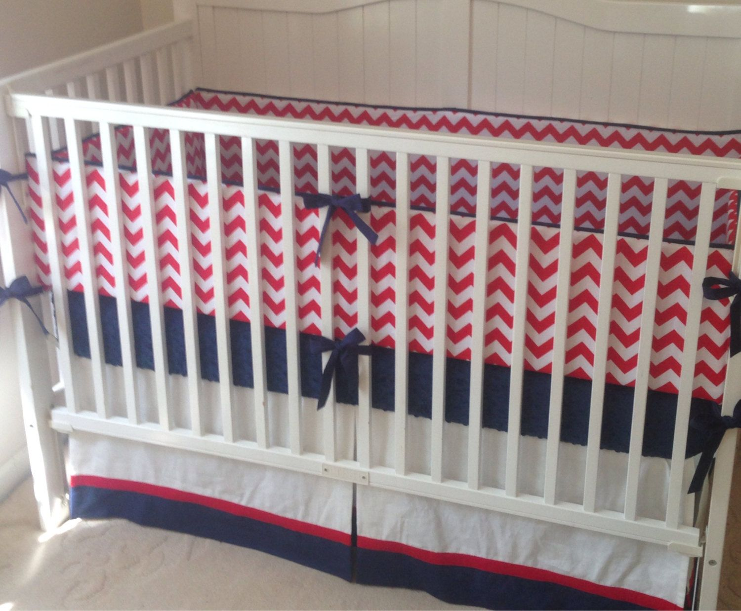 Perless Crib Bedding Set Red White And Blue Baby