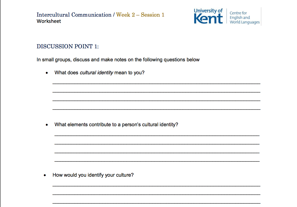 Intercultural Communication Worksheet