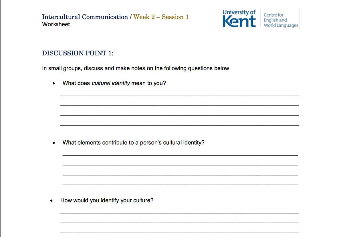 Intercultural Communication Worksheet