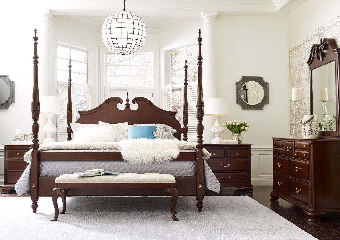 Hadleigh Rice Carved Poster Bedroom Set (With images