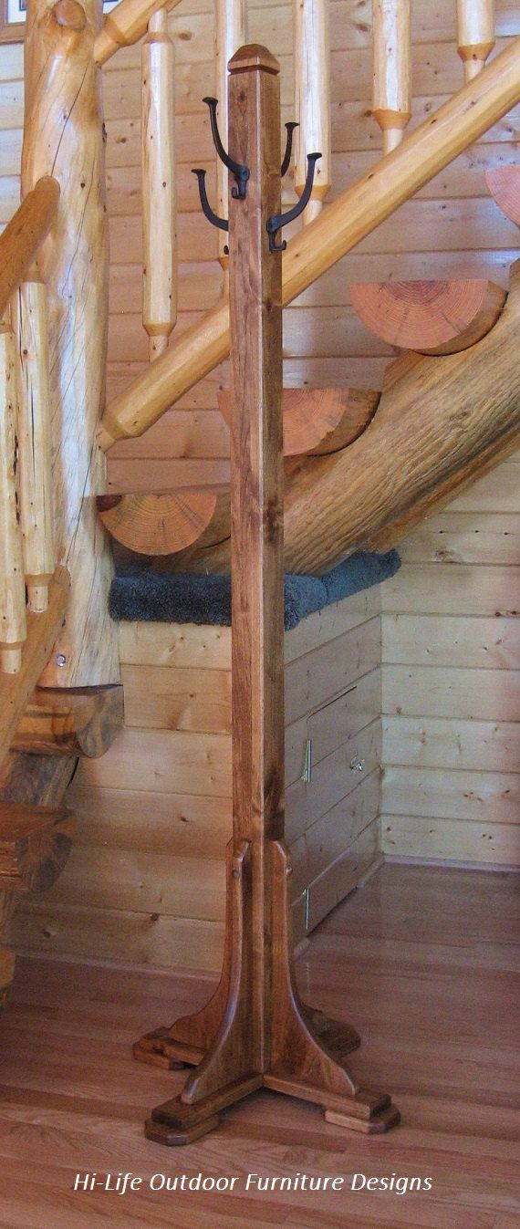 Mina Coat Tree, Handmade Alder Wood, 4 Cast Iron Hook, Hat Stand, Hall Tree, Coat Rack, Mission Arts & Crafts Style