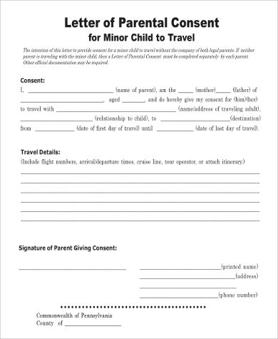 Sample Child Travel Consent Forms Medical Letter Minor