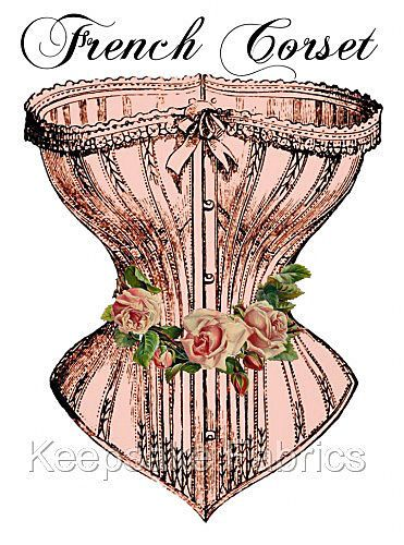 French Corset & Roses Cotton Quilt Block Multi Sizes FrEE ShiPPinG WoRld WiDE #KeepsakeFabrics