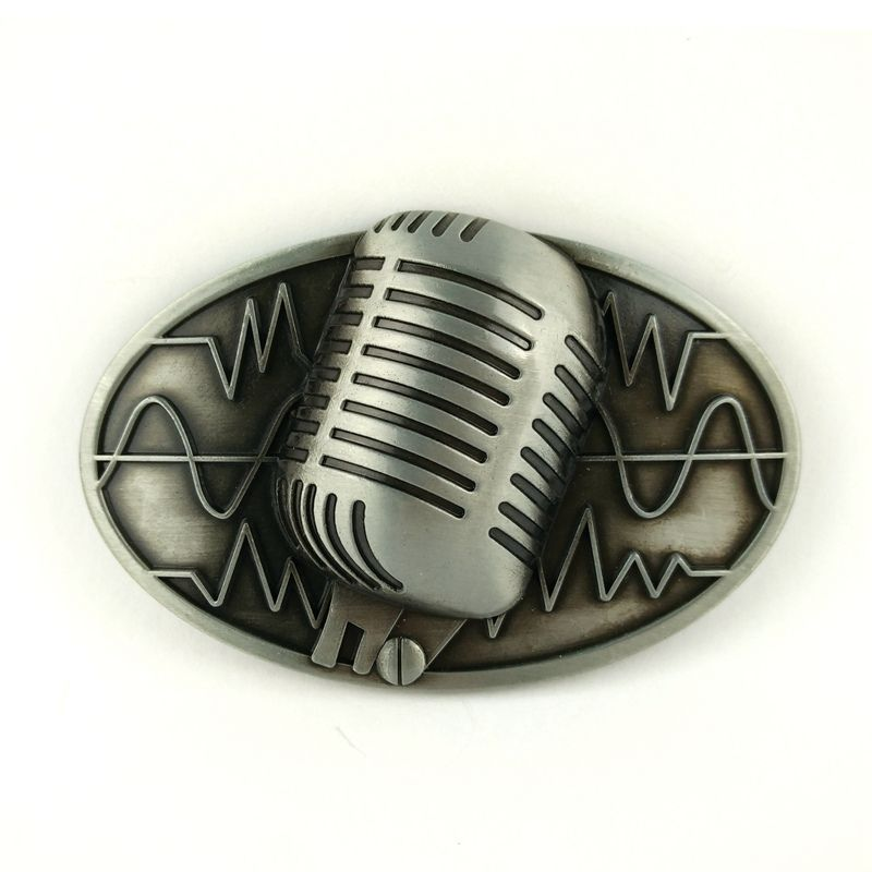 Men Buckle Microphone Rock Music Belt Buckle Gurtelschnalle Boucle de ceinture