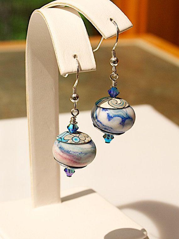 Deco drop pair Artisan Lampwork Beads
