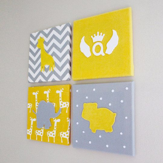 This cute Baby Nursery Wall Art comes 4 in a set, each canvas is 12 ...