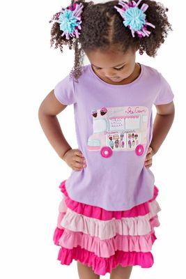 Lemon Loves Lime Girls Lilac Purple Ice Cream Truck T-Shirt