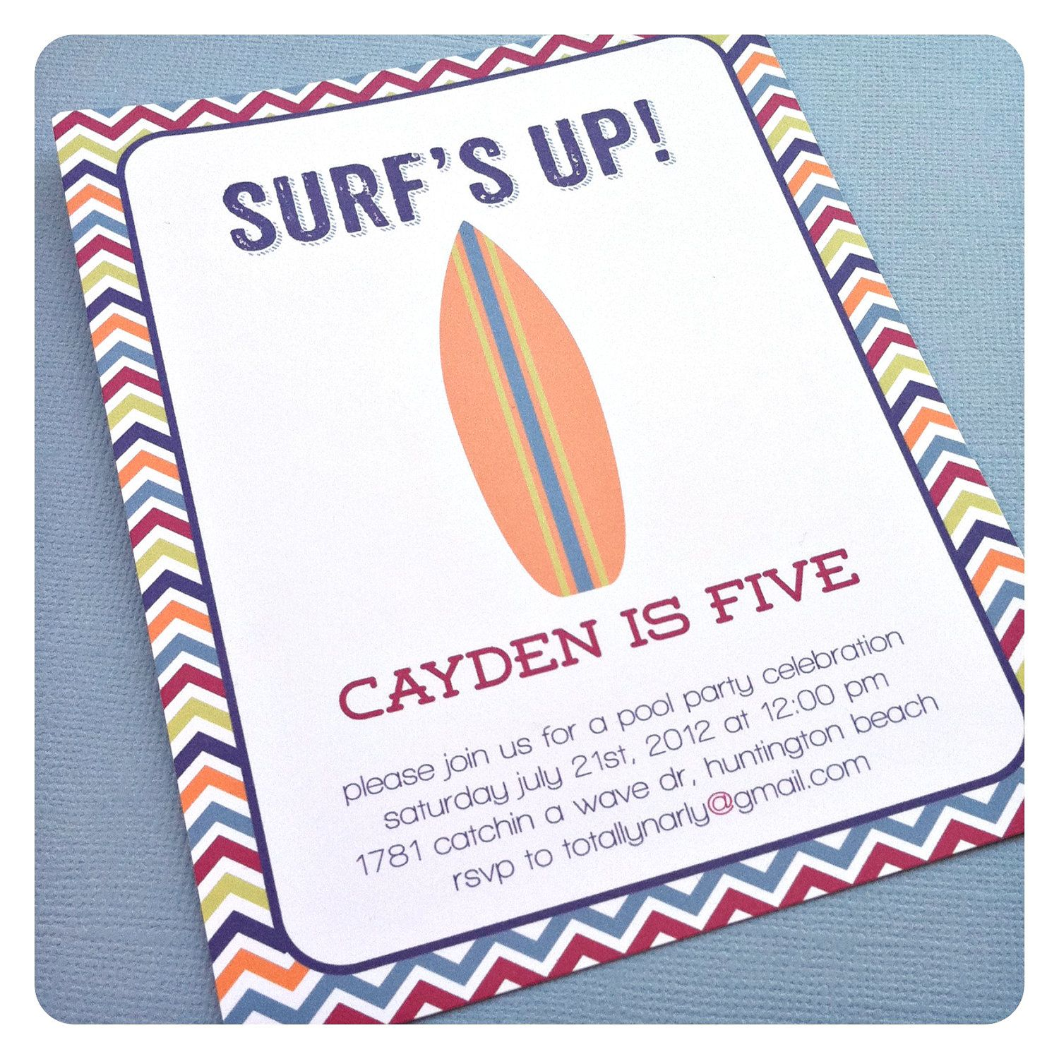 a totally rad surfer dude pool party invitation