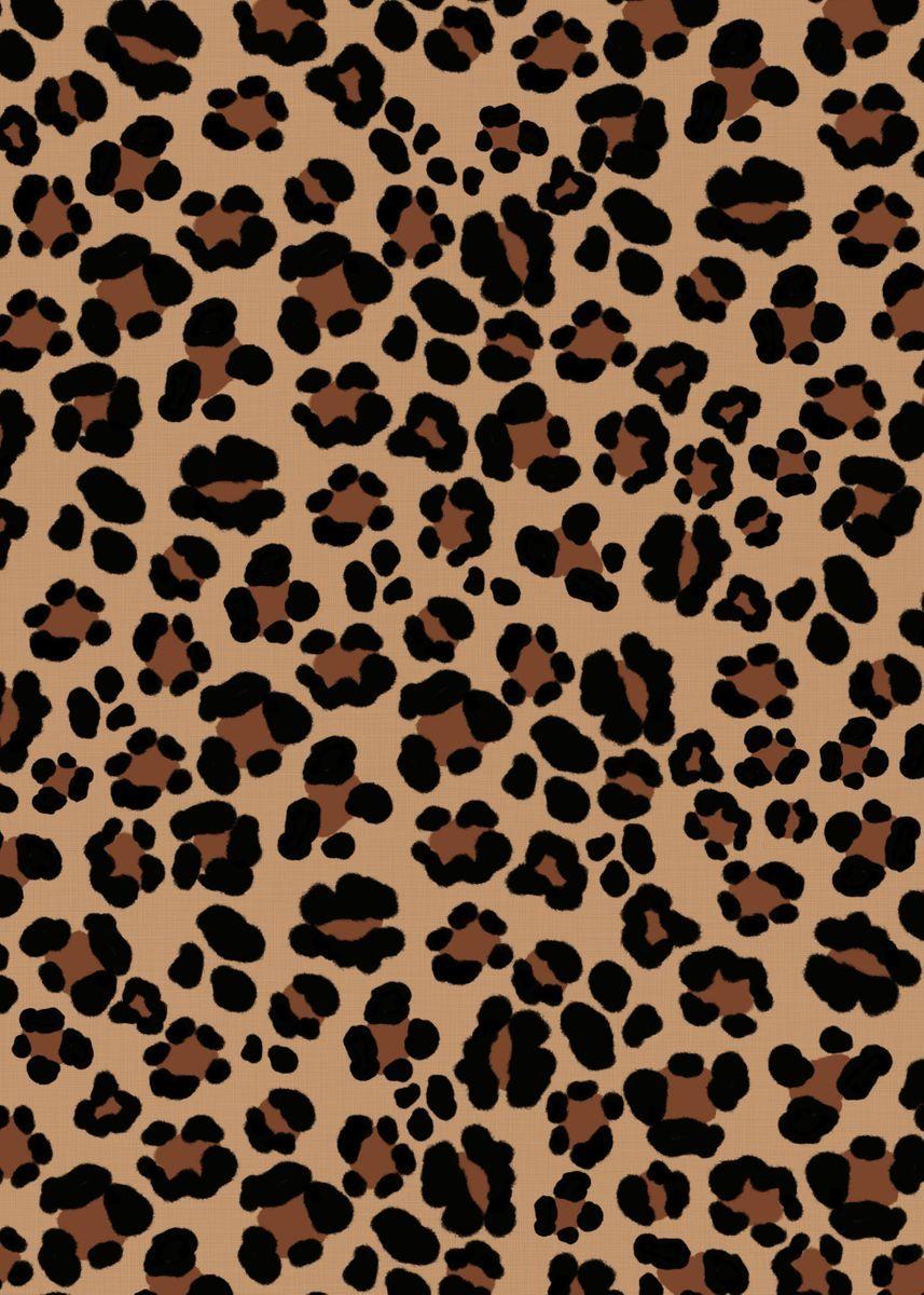 Leopard Print Glam 1 Metal Poster Print Anita S Bella S Art Displate Cheetah Print Wallpaper Leopard Print Wallpaper Animal Print Wallpaper