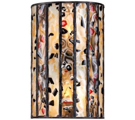 "Earth Tone Art Glass 6 1/2"" Wide Tiffany Style Wall Sconce 