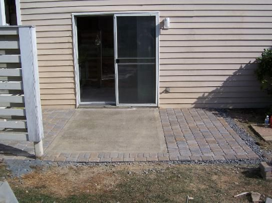 pavers around a concrete slab. good possibility if you don't want