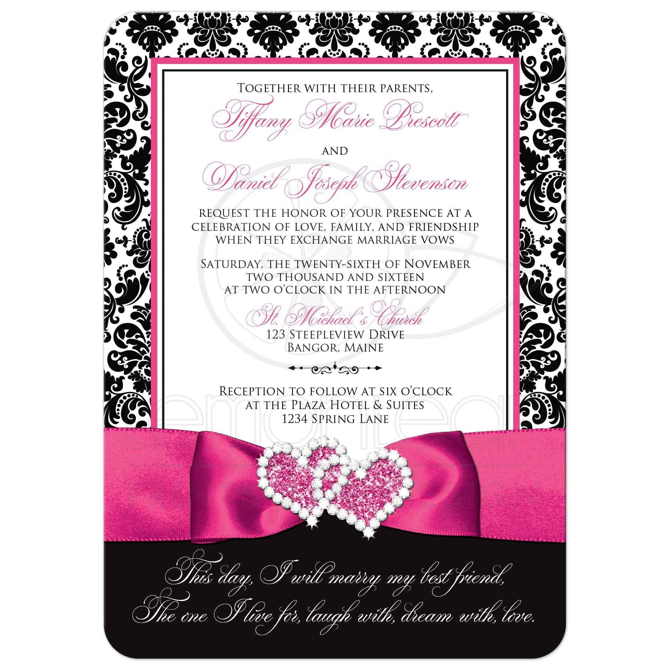 damask wedding invitations Great black and white damask wedding invitations with fuchsia pink ribbon and jewelled joined hearts brooch